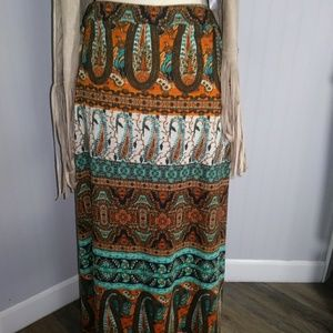 Boho knit maxi skirt
